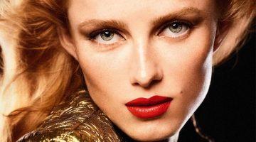 Rianne van Rompaey stars in Chanel Rouge Allure Velvet Le Lion De Chanel lipstick campaign.