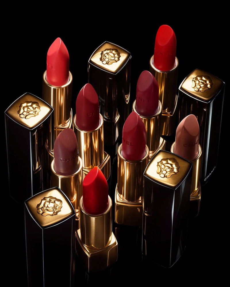 A look at shades from Chanel's Rouge Allure Velvet Le Lion De Chanel lipstick collection.