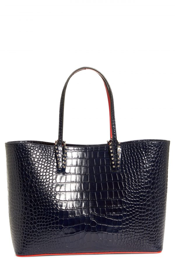 Christian Louboutin Cabata Croc Embossed Leather Tote - Black