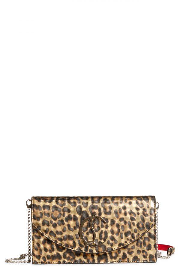 Christian Louboutin Loubi54 Leopard Print Metallic Leather Clutch - Brown