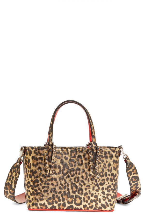 Christian Louboutin Mini Cabata Leopard Print Metallic Leather Tote - Brown