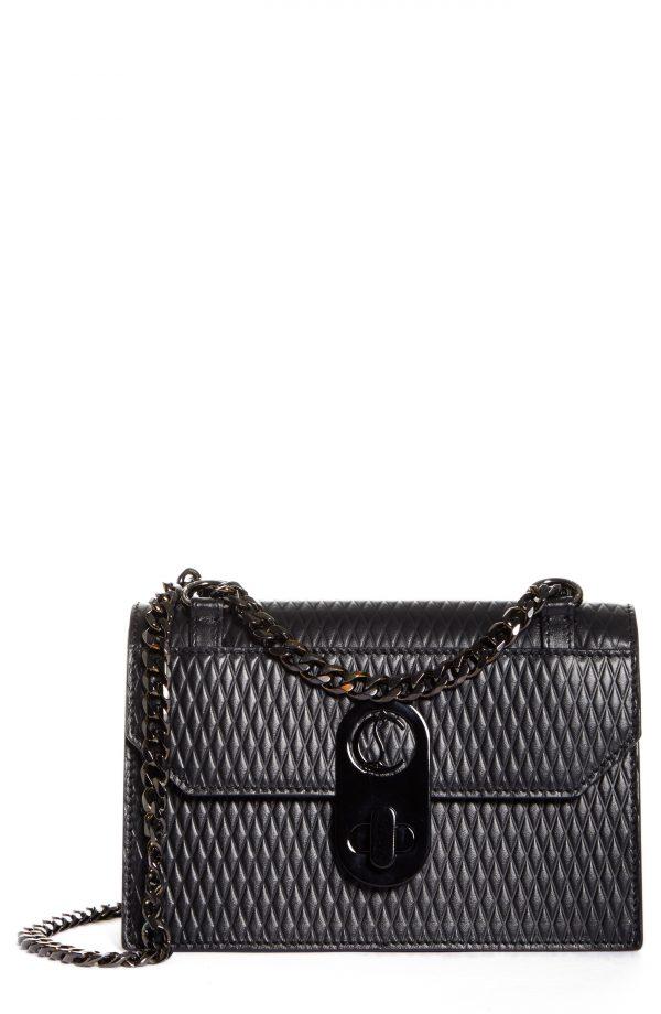Christian Louboutin Mini Elisa Diamond Embossed Leather Shoulder Bag - Black