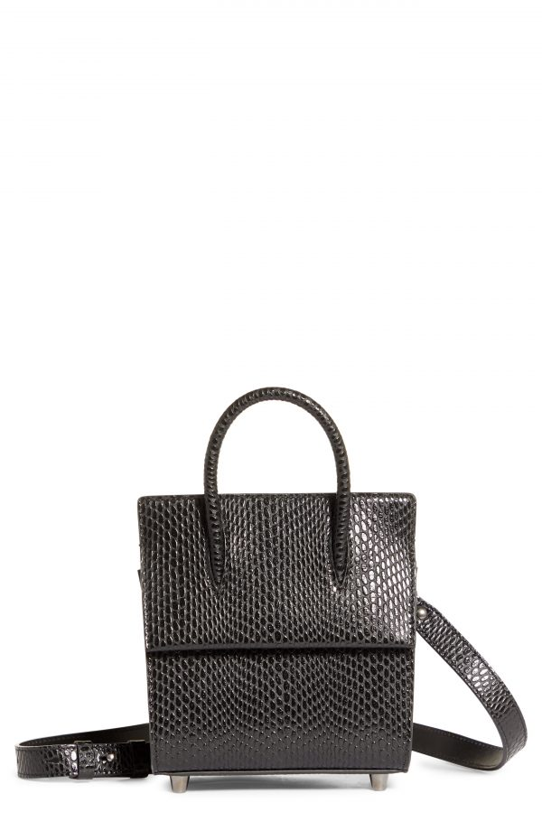 Christian Louboutin Mini Paloma Snake Embossed Leather Satchel - Black