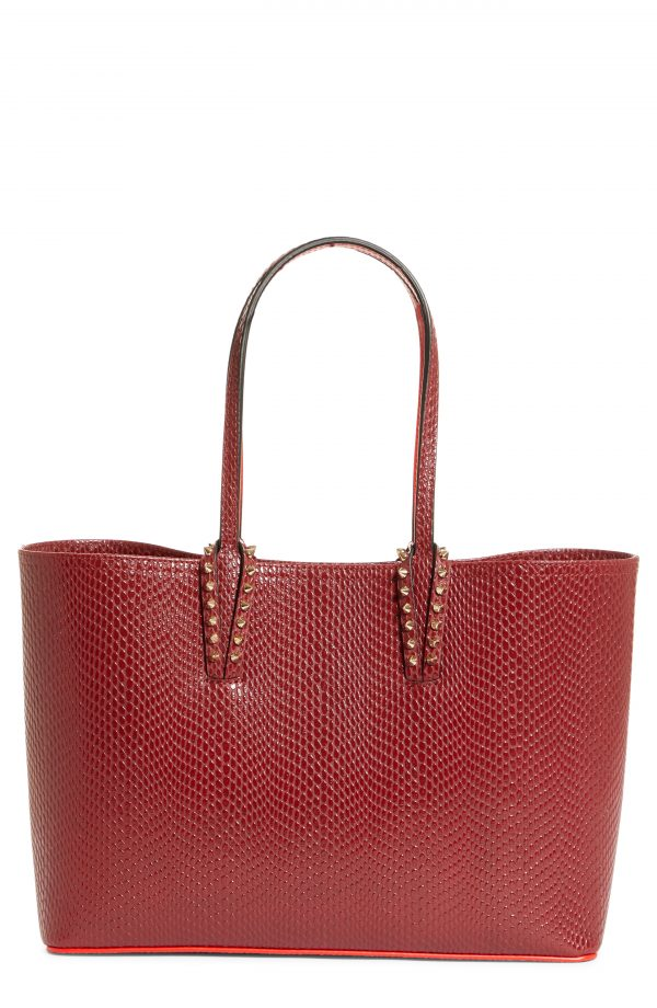 Christian Louboutin Small Cabata Snake Embossed Leather Tote - Red