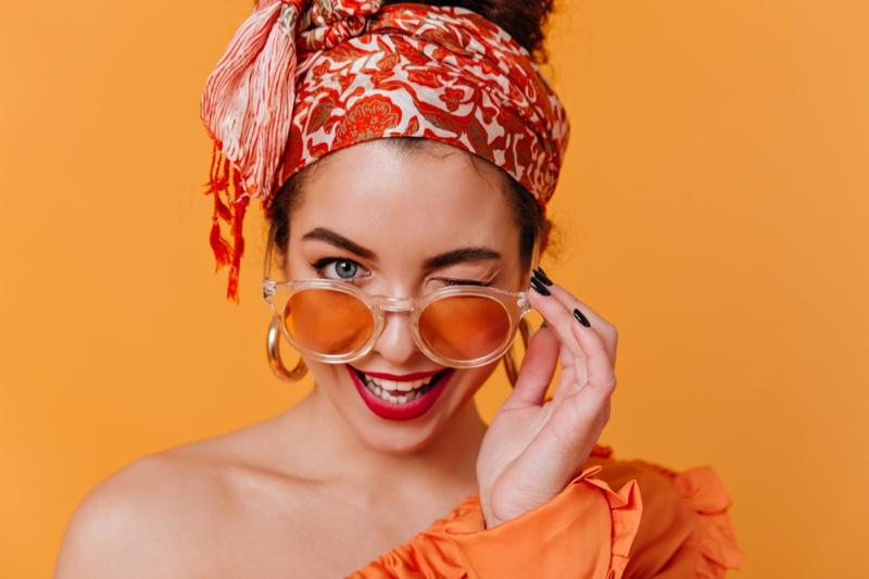 Closeup Girl Hair Scarf Orange Sunglasses Wink