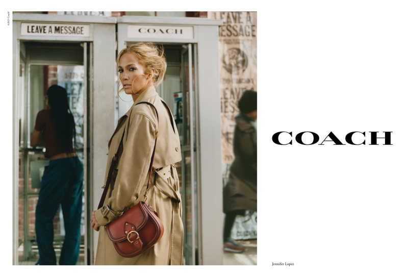 Wearing a trench coat, Jennifer Lopez fronts Coach spring-summer 2021 campaign.