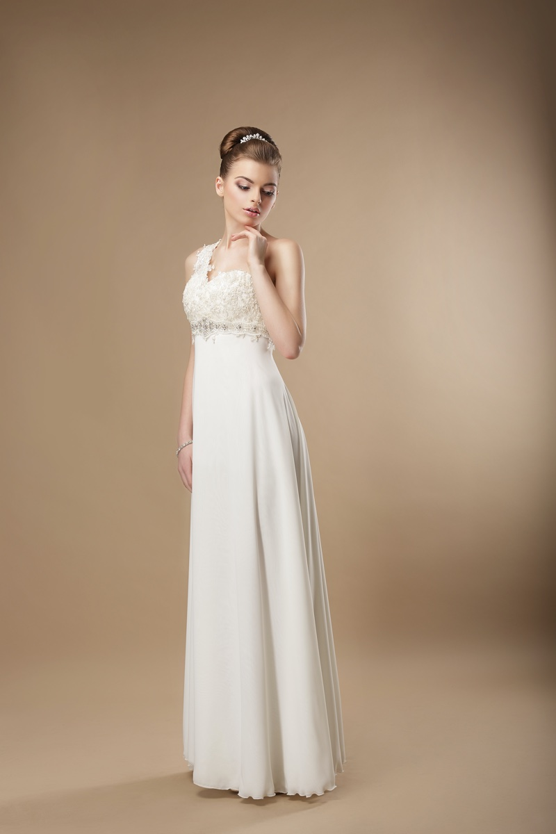 Column Wedding Dress Sheath Embellished Bodice
