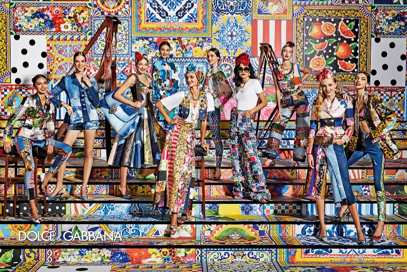 Bold prints and patchwork accents stand out in Dolce & Gabbana's spring-summer 2021 campaign.