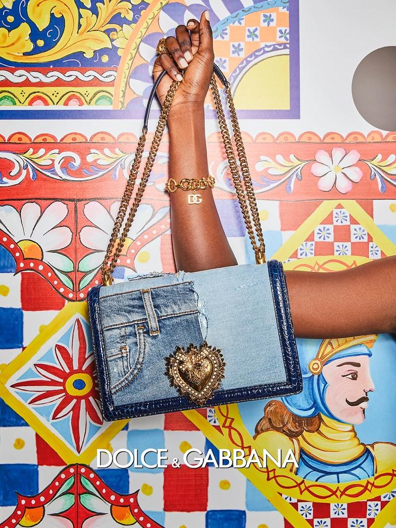 A denim patchwork bag featured in Dolce & Gabbana's spring 2021 campaign.