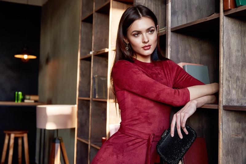 Elegant Model Red Dress Black Clutch Bag