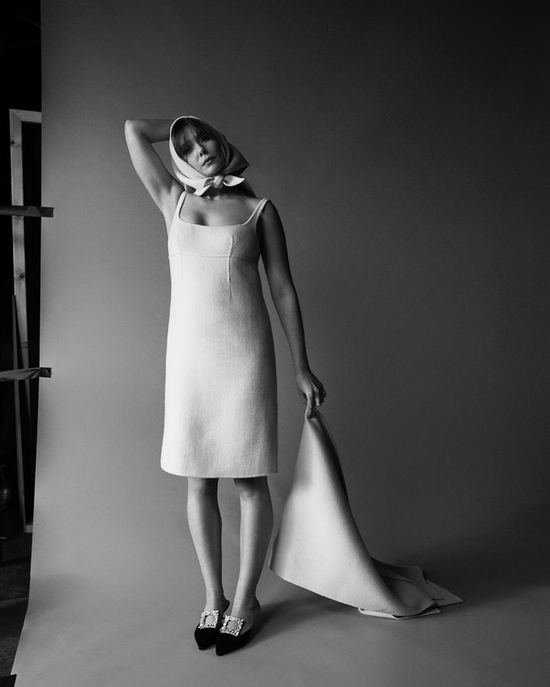 Amar Daved photographs Elizabeth Olsen in black and white.