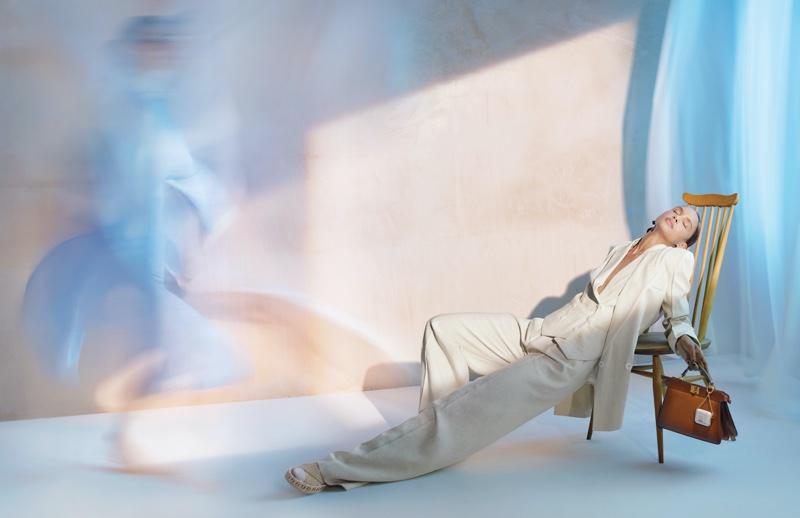 Malaika Holmen poses for Fendi spring-summer 2021 campaign.