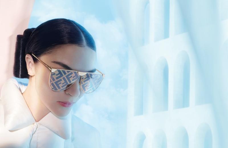 Mariacarla Boscono wears branded eyewear in Fendi spring-summer 2021 campaign.