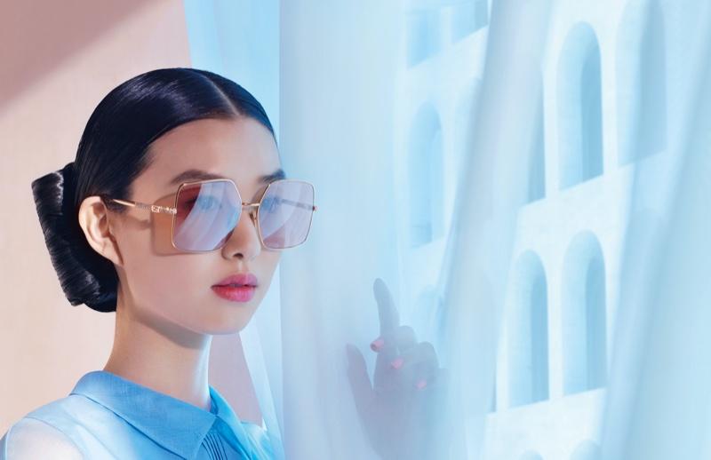 Estelle Chen models eyewear in Fendi spring-summer 2021 campaign.