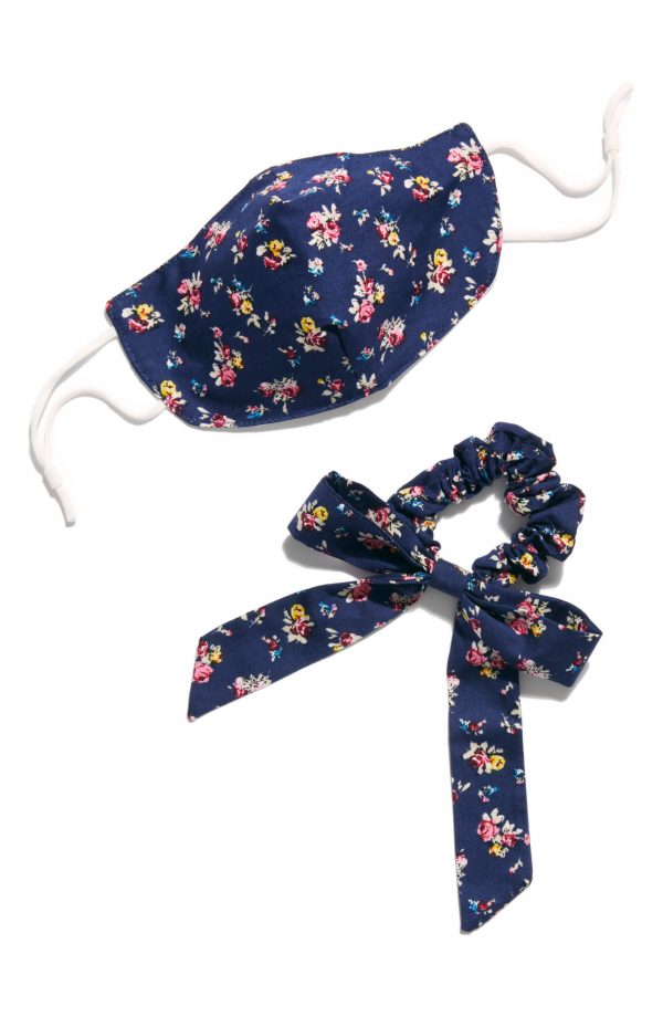Free People Adult Face Mask & Scrunchie Bow Set, Size One Size - Blue