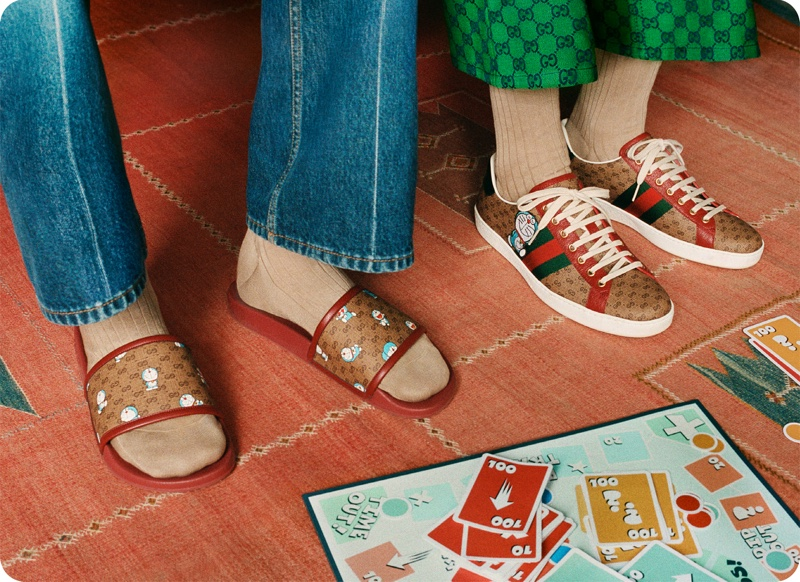 Gucci's iconic double-G print gets updated with Doraemon illustrations.