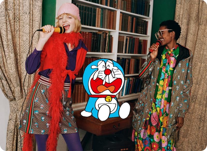 Models sing karaoke for Doraemon x Gucci's Lunar New Year collaboration.