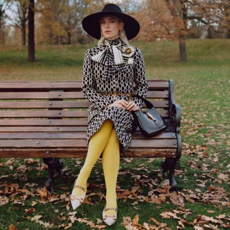 Vanessa Kirby stars in Gucci Winter in the Park campaign.