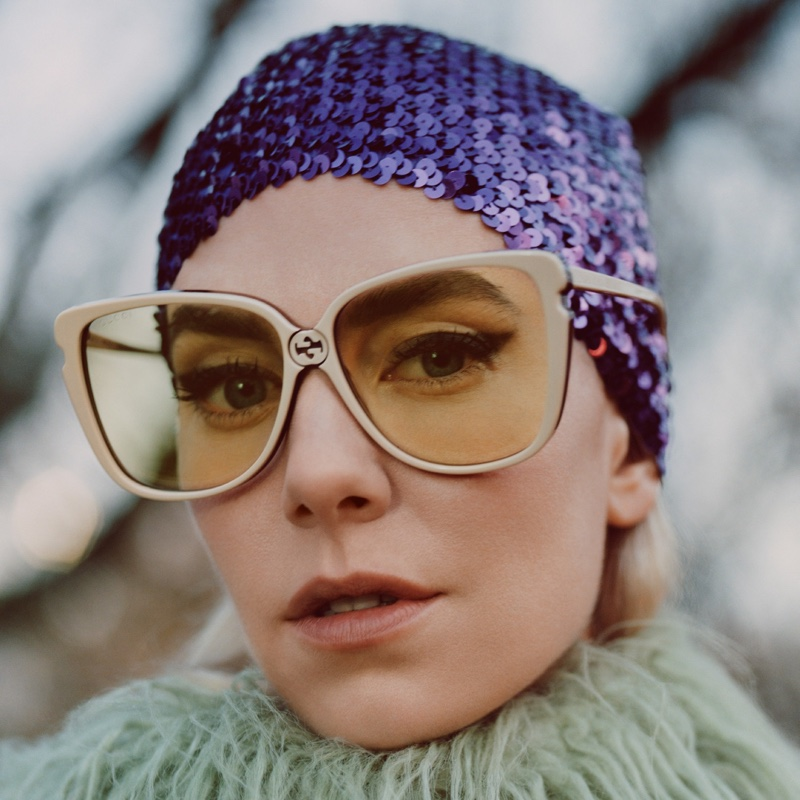 Actress Vanessa Kirby wears accessories for Gucci Winter in the Park campaign.