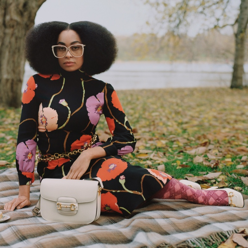 Celeste poses for Gucci Winter in the Park campaign.