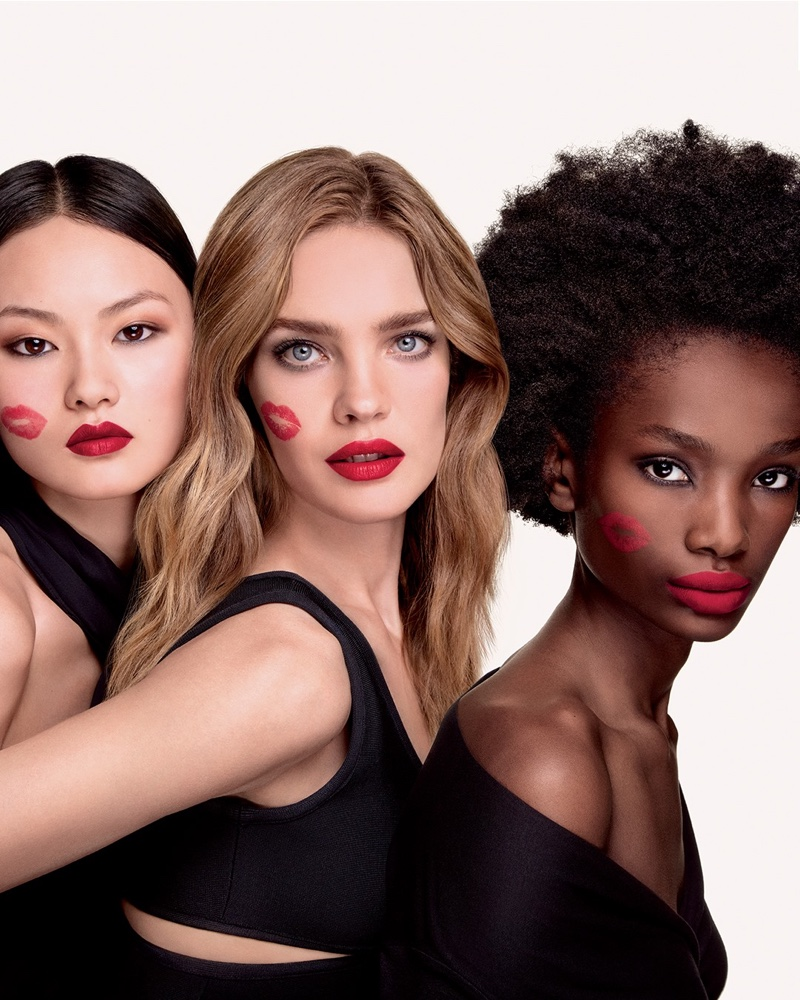 He Cong, Natalia Vodianova, and Imari Karanja star in Guerlain KissKiss lipstick campaign.