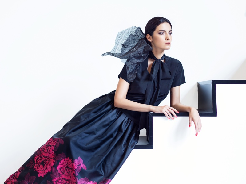 High fashion Elegant Model Posing Stairs Skirt Top Neck Tie