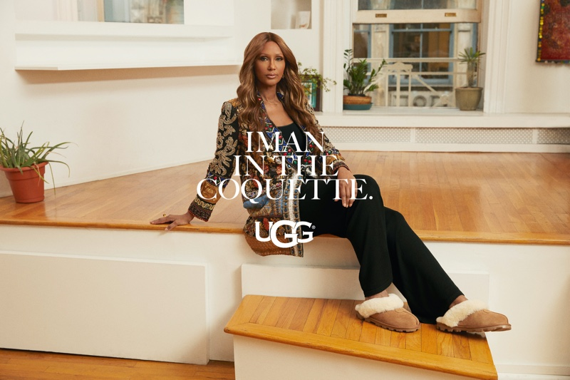 Iman poses for UGG spring-summer 2021 campaign.