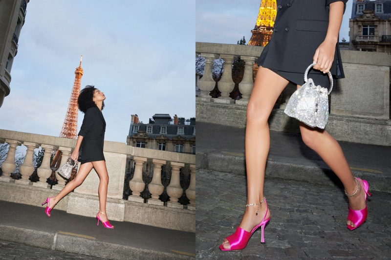 Jimmy Choo features Sae 90 sandals and Bon Bon bag in spring-summer 2021 campaign.