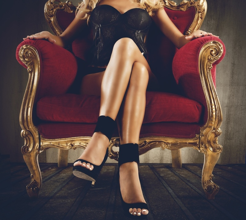 Lingerie Model Legs Shoes Sitting Chair
