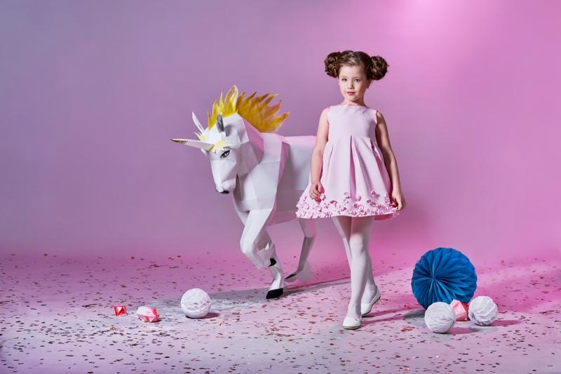 Little Girl Pink Dress Paper Unicorn Fashion