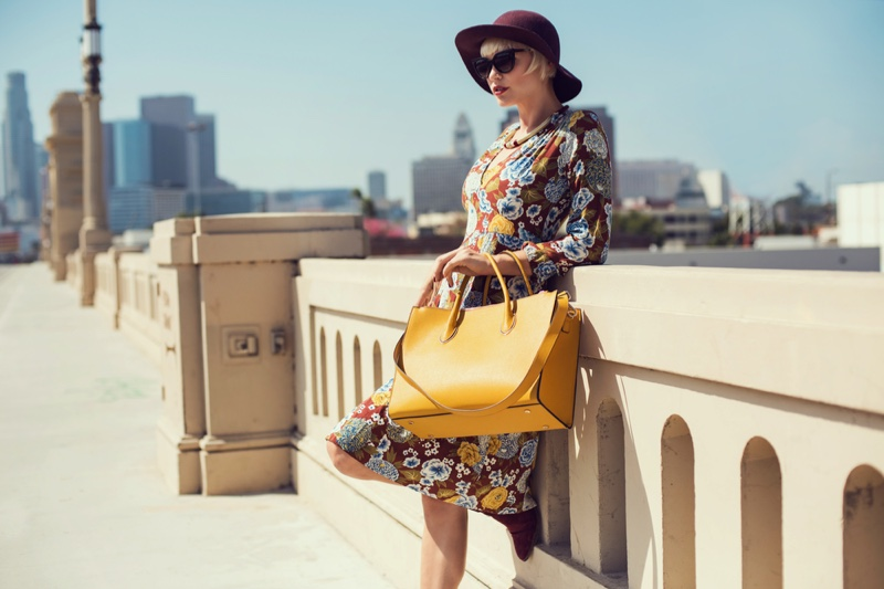 Los Angeles Model Floral Print Dress Yellow Bag Hat Outfit