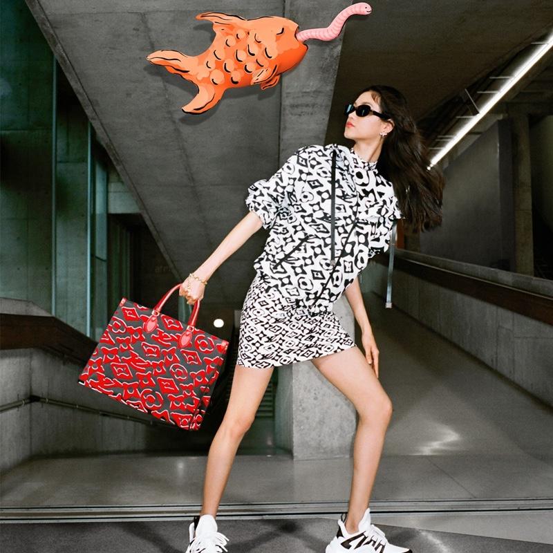 Focusing on bold prints, Louis Vuitton collaborates with artist Urs Fischer.