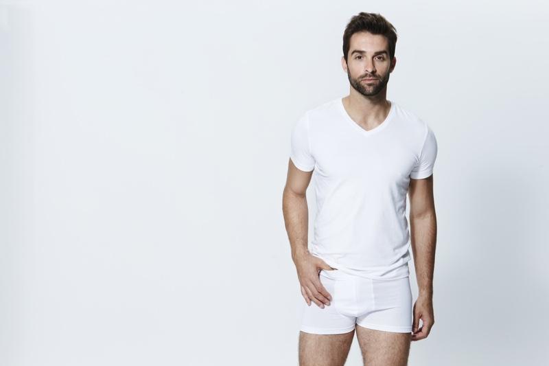 Male Model White T-Shirt Boxer Shorts