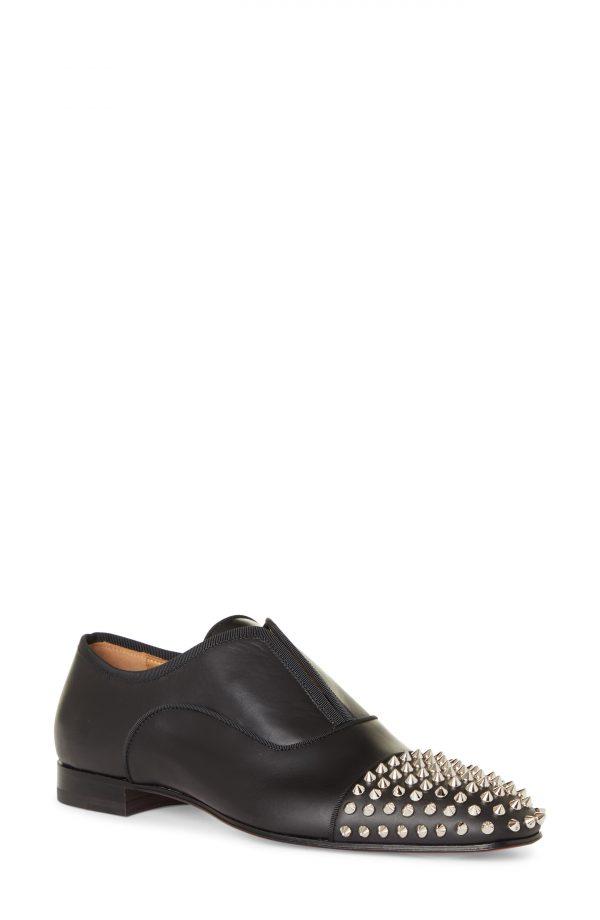 Men's Christian Louboutin Alpha Spikes Cap Toe Slip-On Oxford, Size 6US - Black