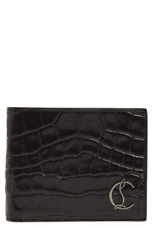 Men's Christian Louboutin Coolcard Croc Embossed Leather Wallet - Black