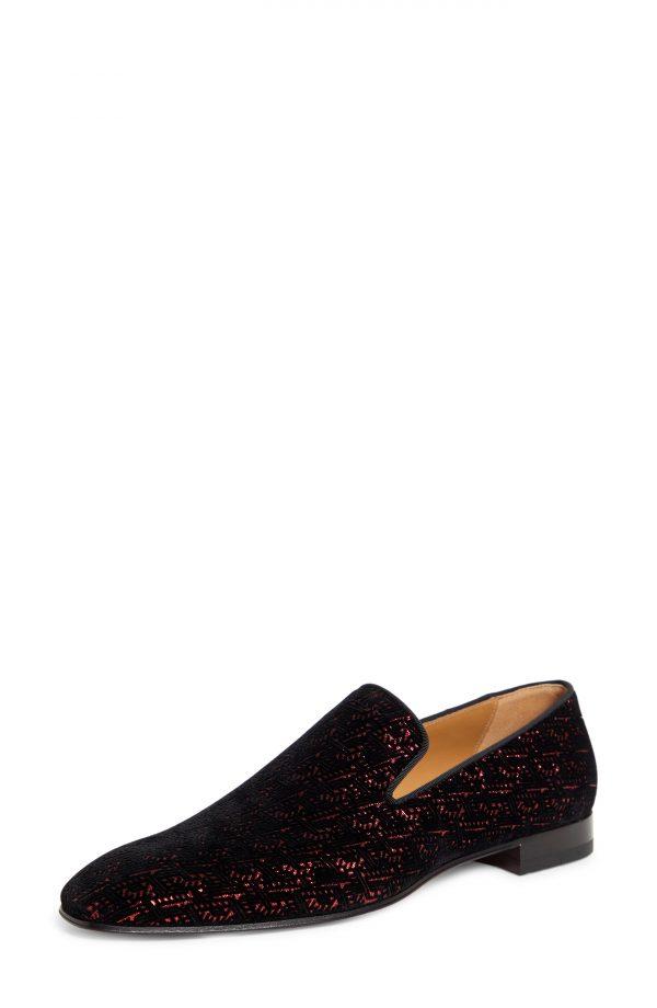 Men's Christian Louboutin Dandelion Metallic Venetian Loafer, Size 9US - Black