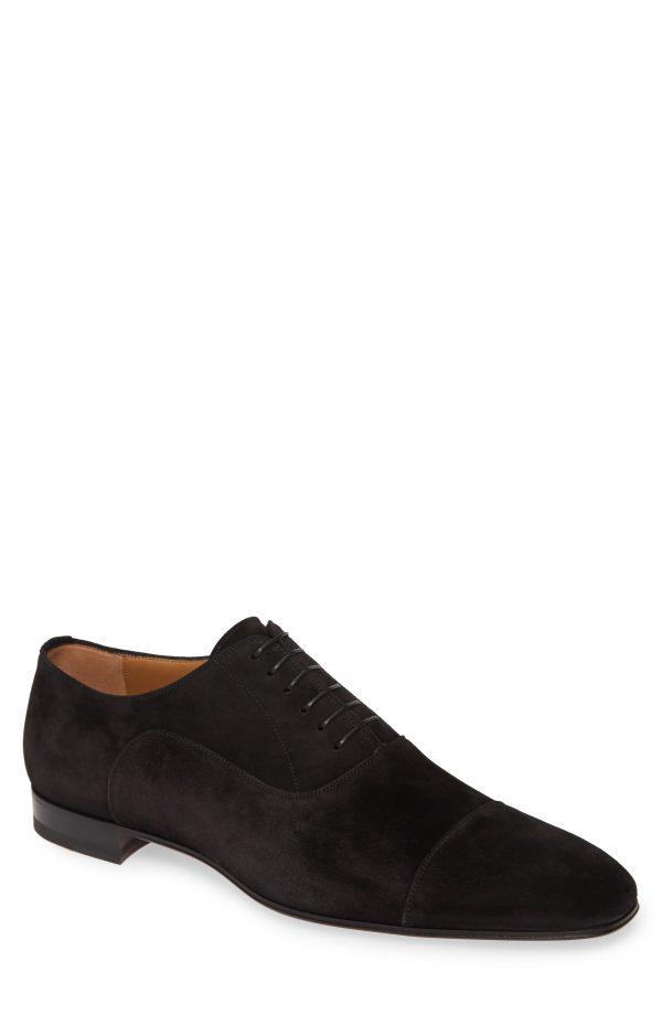 Men's Christian Louboutin Greggo Cap Toe Oxford, Size 7US - Black