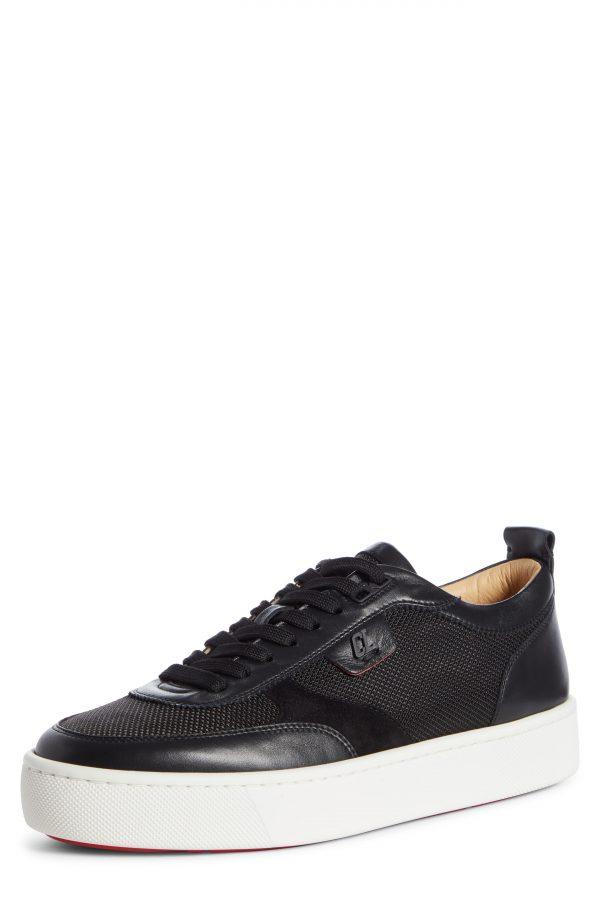 Men's Christian Louboutin Happyrui Sneaker, Size 8US - Black