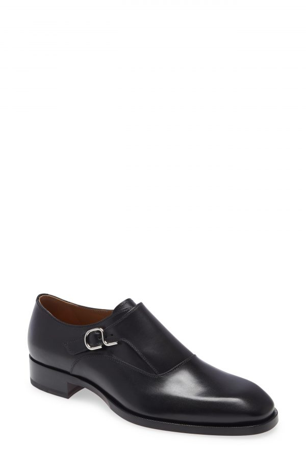 Men's Christian Louboutin John Monk Strap Shoe, Size 7US - Black