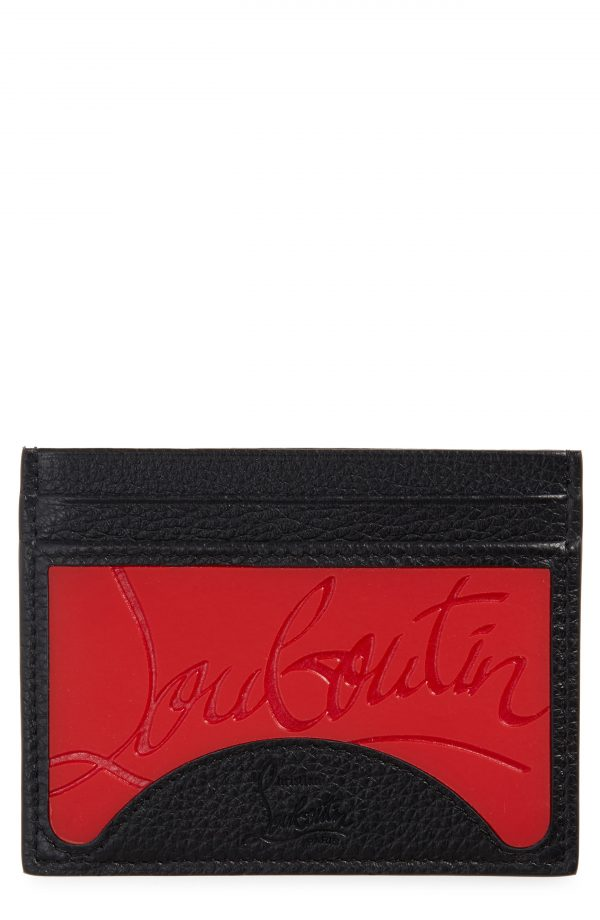 Men's Christian Louboutin Kios Sneaker Sole Leather & Tpu Card Case - None