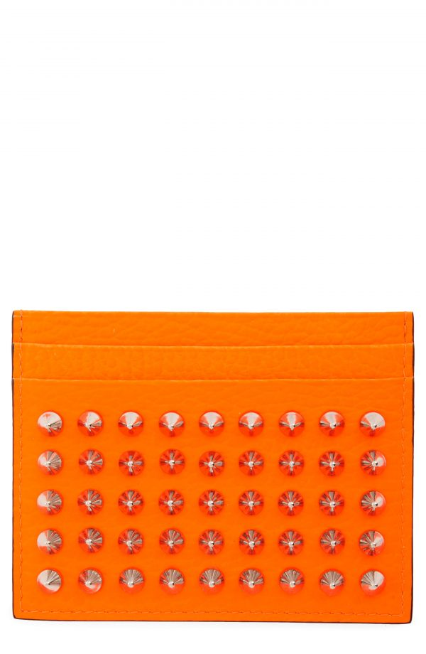 Men's Christian Louboutin Kios Spiked Calfskin Leather Card Case - Orange