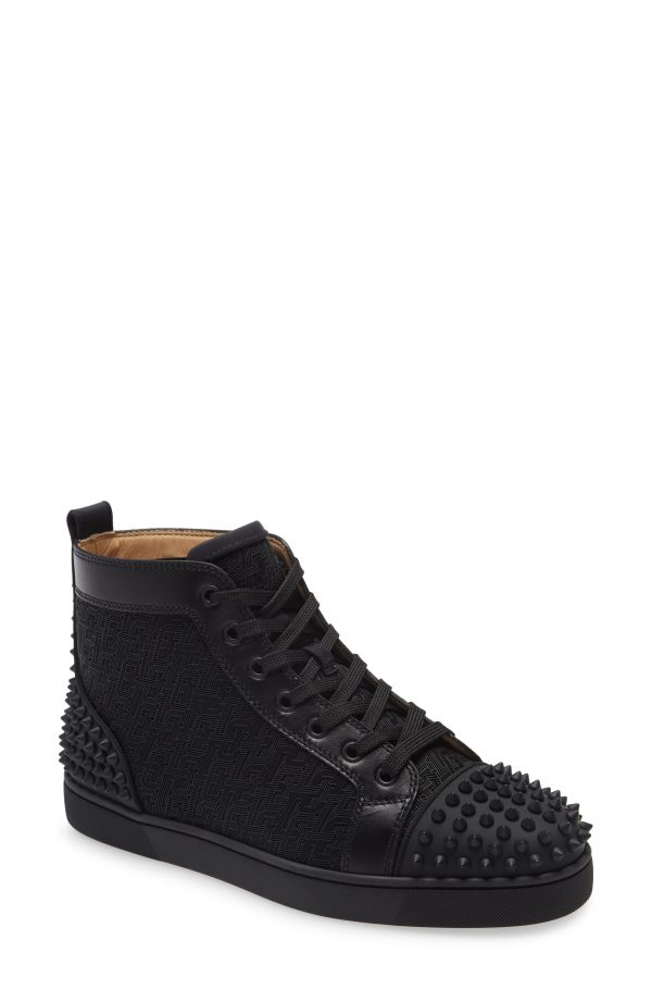 Men's Christian Louboutin Lou Spikes 2 High Top Sneaker, Size 7US - Black