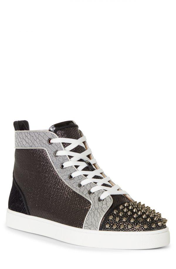 Men's Christian Louboutin Lou Spikes Orlato High Top Sneaker, Size 13US - Black