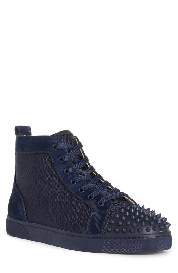 Men's Christian Louboutin Lou Spikes Orlato High Top Sneaker, Size 7US - Blue