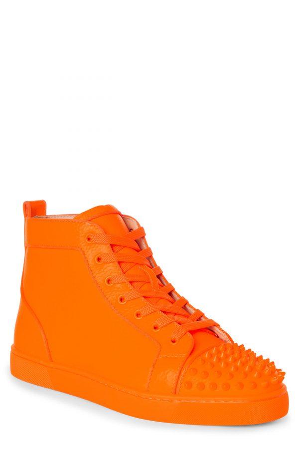 Men's Christian Louboutin Lou Spikes Orlato High Top Sneaker, Size 7US - Orange