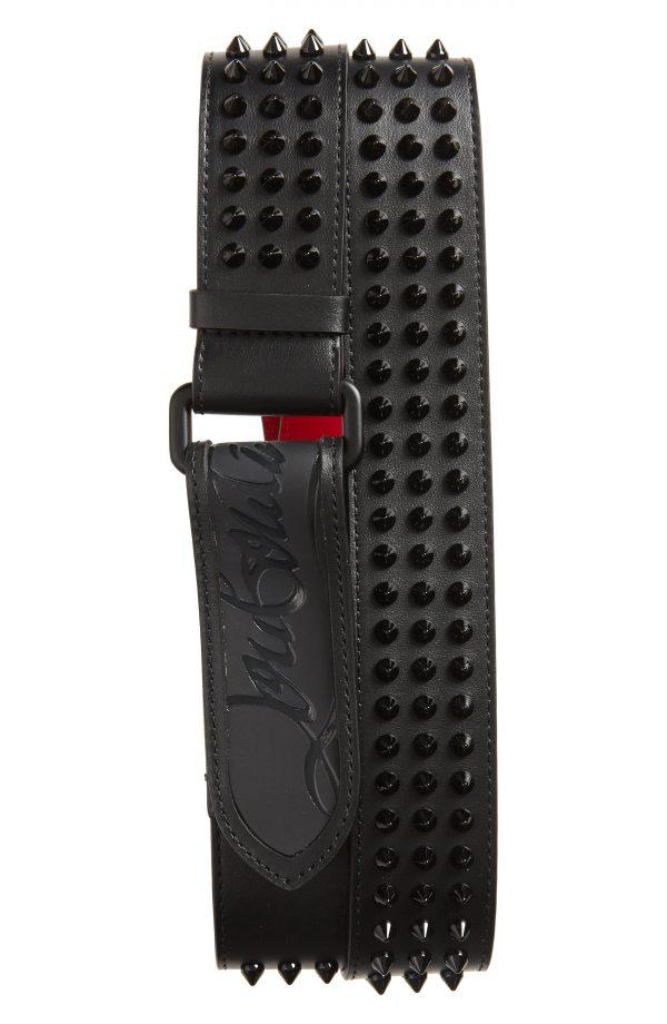 Men's Christian Louboutin Loubi Spike Belt, Size 85 EU - Black
