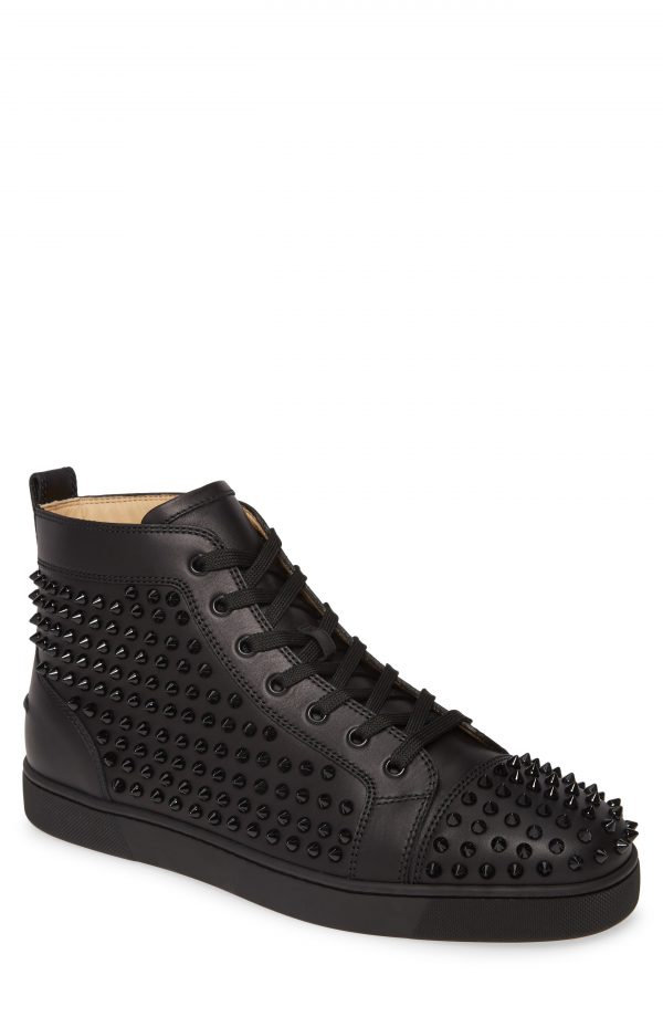 Men's Christian Louboutin Louis Allover Spikes High Top Sneaker, Size 10.5US - Black