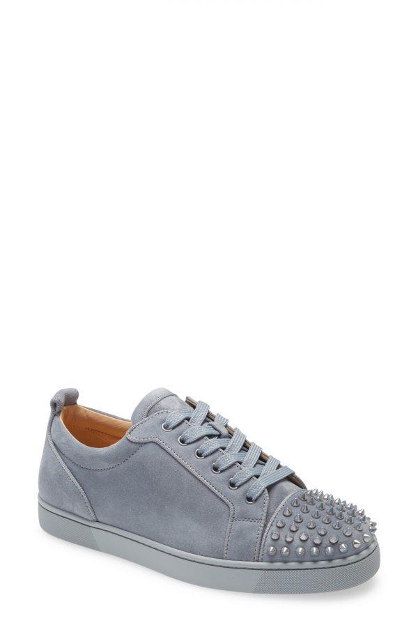 Men's Christian Louboutin Louis Junior Spikes Sneaker, Size 7US - Metallic