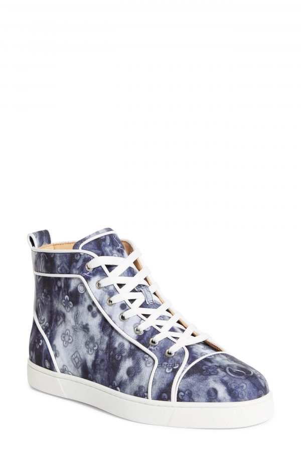 Men's Christian Louboutin Louis Orlato High Top Sneaker, Size 7US - Blue/green
