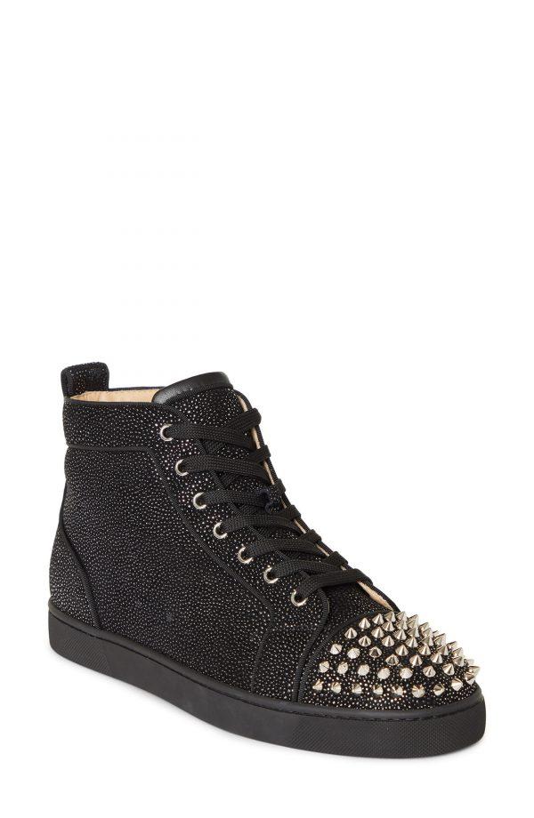 Men's Christian Louboutin Louis Orlato Spike Crystal High Top Sneaker, Size 7.5US - Black